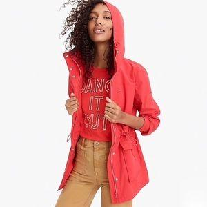 J.Crew Petite Red Perfect Rain Jacket XS